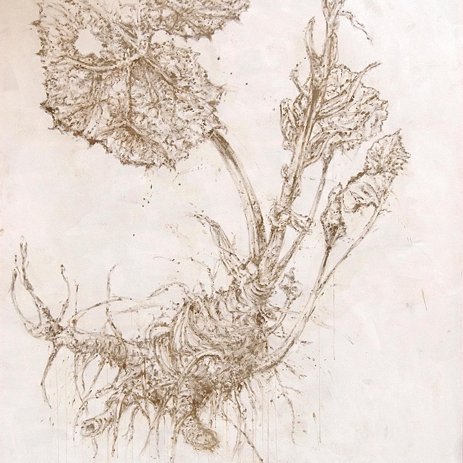 Caterina-Sbrana-Tavola-botanica-Farfaraccio,-2008-fango-su-tela-192×226-cm-0
