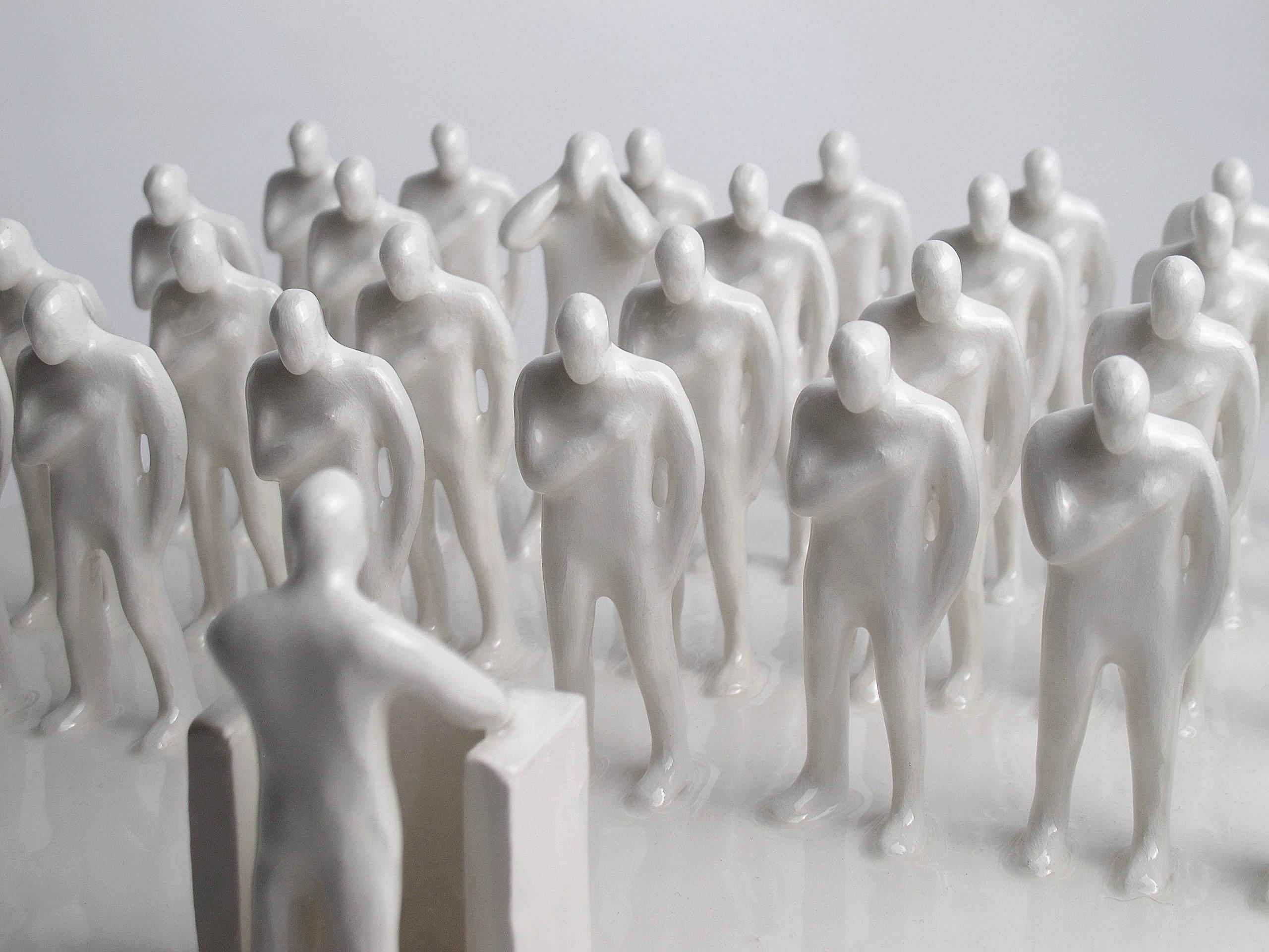 Gabriele Mallegni No listen box, white glazed ceramic , 2020